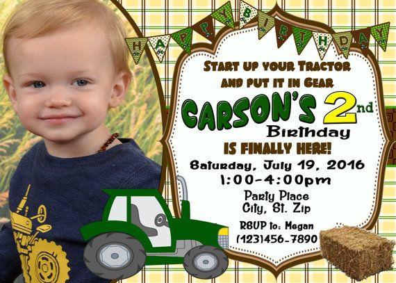 Start Up Your Tractor Birthday Invitation/ by countrydigitaldesign