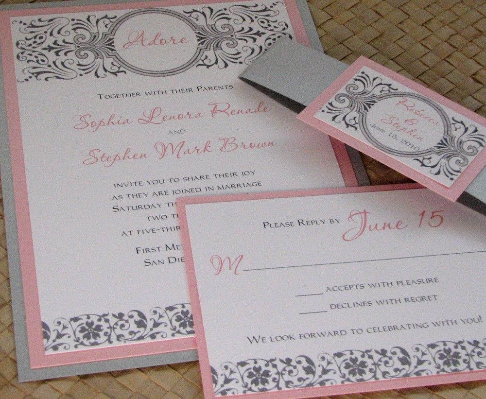 Damask Pink And Silver Wedding Invitation By Lesliescardart 4 00 Like This With A Blue Backer Yellow Middle Matt White Chevron Printed Piece Nice