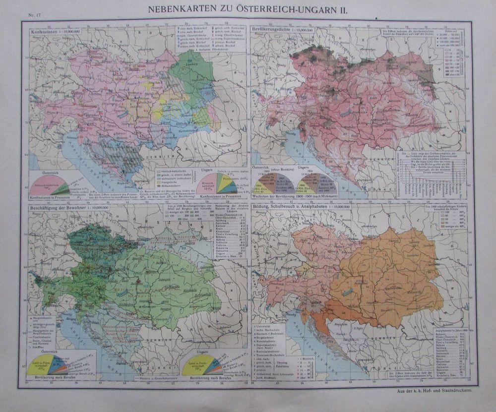 Details Zu Nebenkarten Zu Osterreich Ungarn Ii 35x29cm Karte