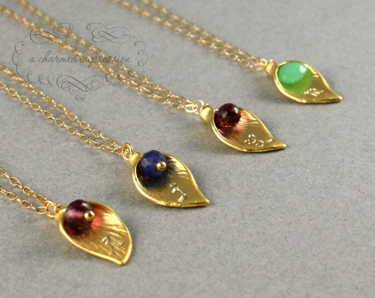 PERSONALIZED NECKLACE . Calla Lily Birthstone Charm Necklace . 14k Gold Birthstone Necklace . Initial Necklace . Bridesmaid Gifts for Mom. $34.00, via Etsy.