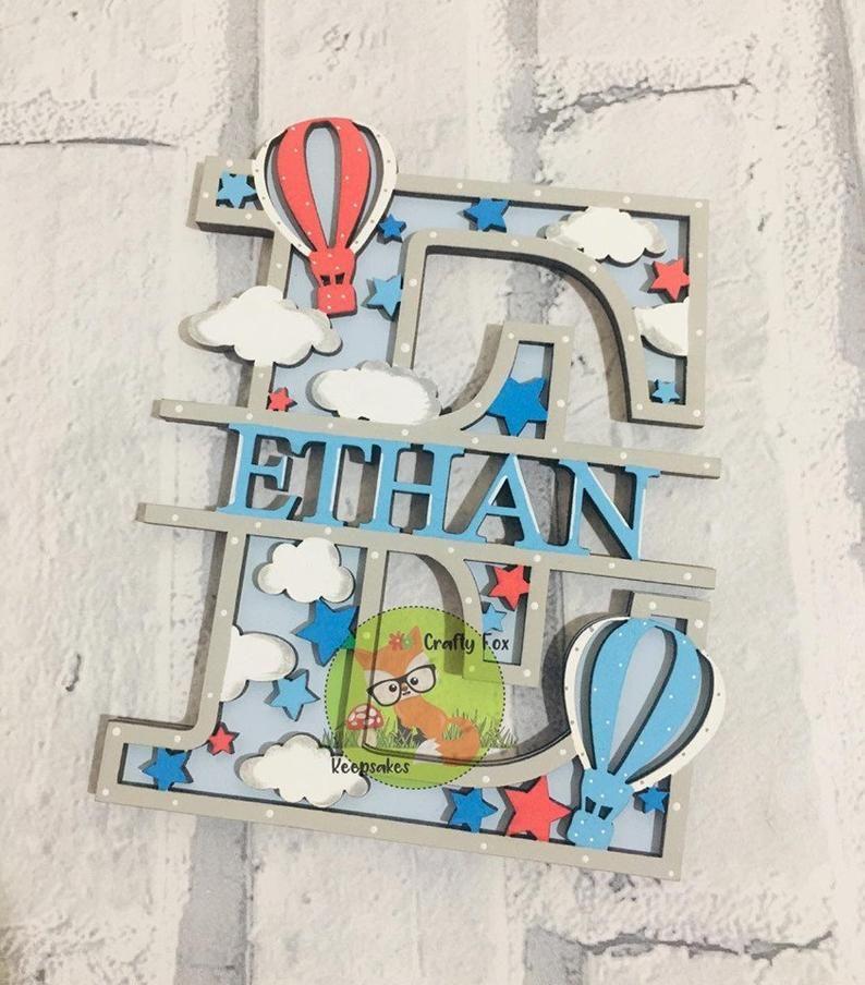 Personalised Balloon Initial Door Sign Children's | Etsy