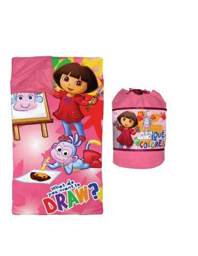 "Nickelodeon Dora Slumber Duffle by Idea Nuova - LA. $22.99. Includes favorite dora characters. Duffle bag includes straps so your child can easily throw over his shoulder and carry everywhere. Sleeping bag measures 57"" x 60"". Includes plush dora sleeping bag and carrying case. From the Manufacturer                Your child will be ready for adventure whether they are napping or playing with this fun dora plush sleeping bag and carrying case. Perfect for sleepover..."