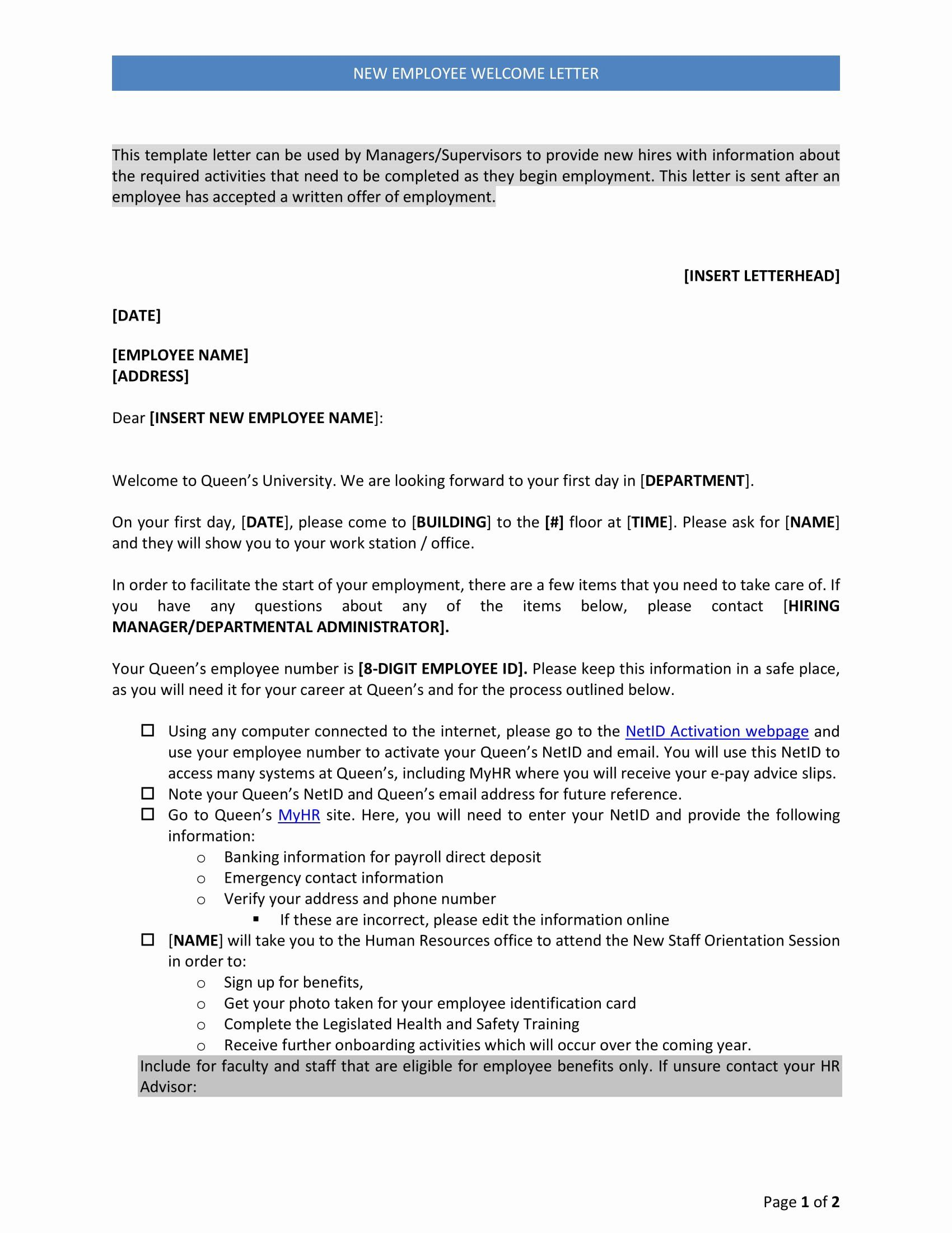 Welcome Letter To New Employee Luxury 9 New Hire Wel E Letter Examples Pdf Welcome Letter Lettering Professional Cover Letter Template