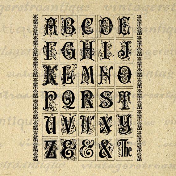 Digital Embellished Alphabet Graphic Image Medieval Script