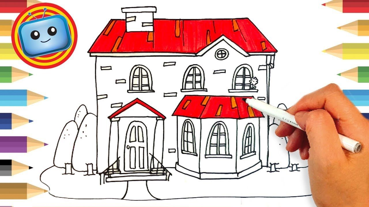 How To Draw A House For Kids Draw And Paint Color Marker Drawing For Kids Coloring Markers Drawings