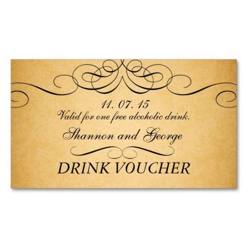 black swirls damask vintage wedding drink voucher business card
