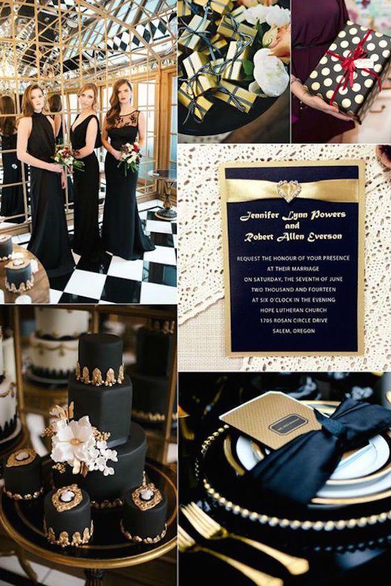 bodas en negro y dorado: como lograr una decoración muy elegante