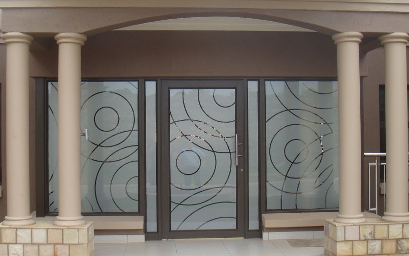 Sandblasted glass vs frosted vinyl decals for Door vinyl design