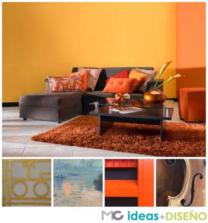 Ideas sala chocolate paletas de colores color palettes for Decoracion hogar naranja