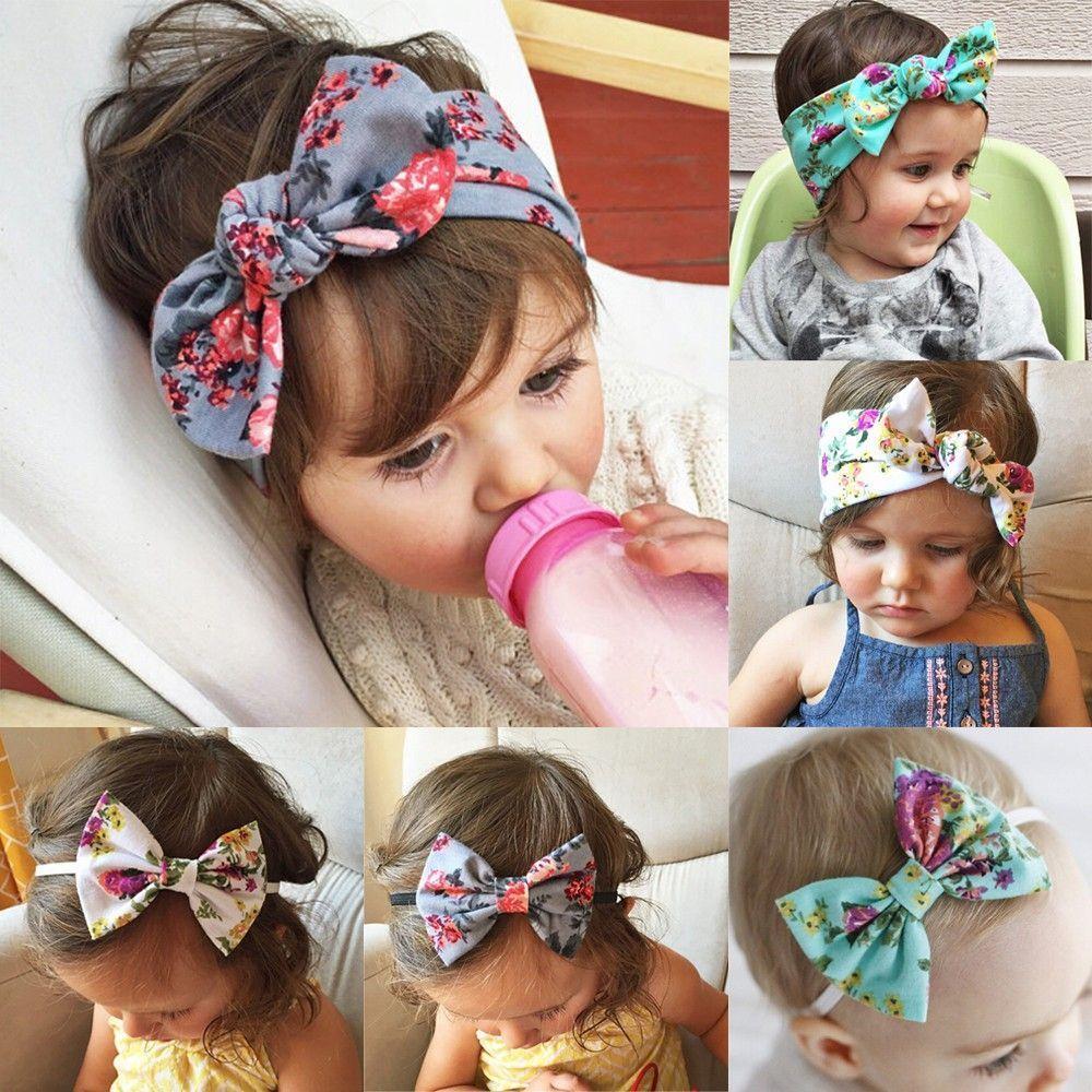 Girl Rabbit Ears Baby Floral Headband Turban Head Wrap Bow Knot Hairband