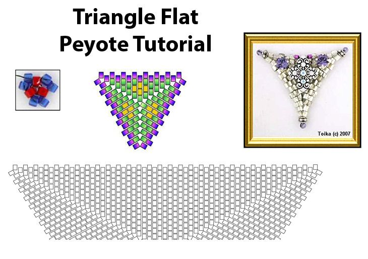 Beaded Triangle Flat Peyote Tutorial Pattern Bead-Patterns - triangular graph paper