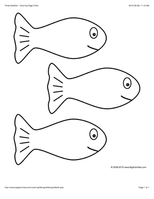 sea life coloring page with a picture of 3 large goldfish to color
