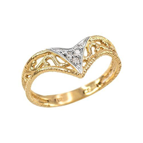 Fine 10k Yellow Gold Filigree Chevron Diamond Ring For Women Size 11 This Beautiful Chevron Diamond Ring Was Ar Chevron Ring Pricing Jewelry White Gold Rings