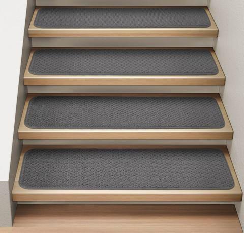 Best Set Of 15 Attachable Carpet Stair Treads Gray Carpet 400 x 300