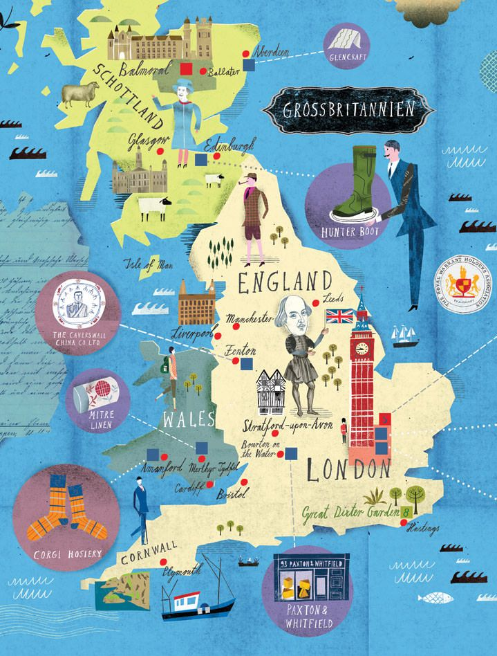 Map Of France England And Scotland.Martin Haake Illustrators Central Illustration Agency Maps In