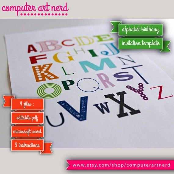 Alphabet Rainbow Invitation for Eddieu0027s second birthday, ABCu0027s - how to make a birthday invitation on microsoft word