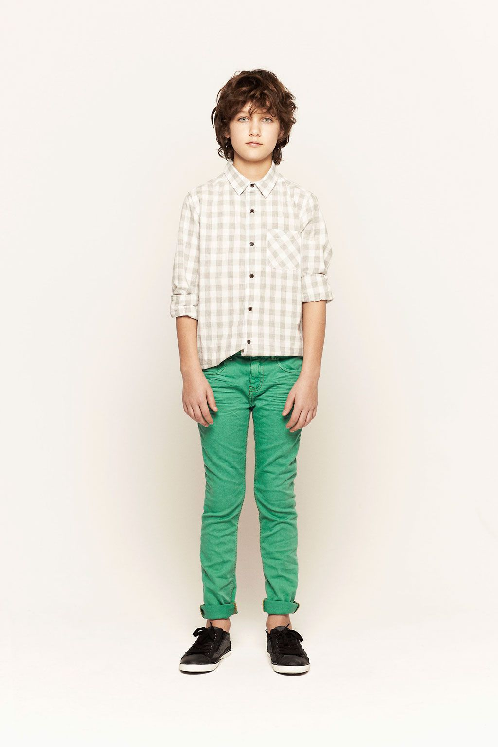 Nicholas |GINGHAM CHECKED SHIRT-SKINNY TWILL TROUSERS  STUDDED PLIMSOLL