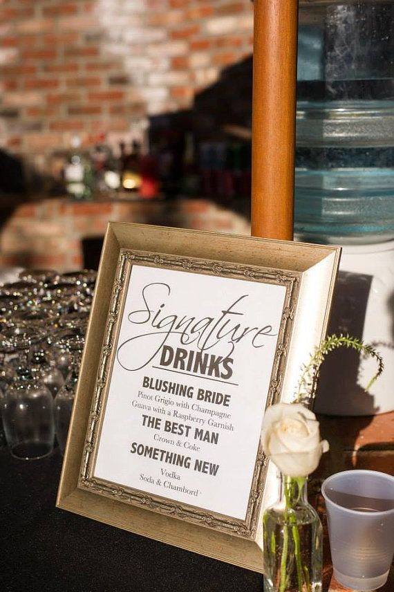 Wedding Signature Drink Sign Tail For Your Or Special Event Printable
