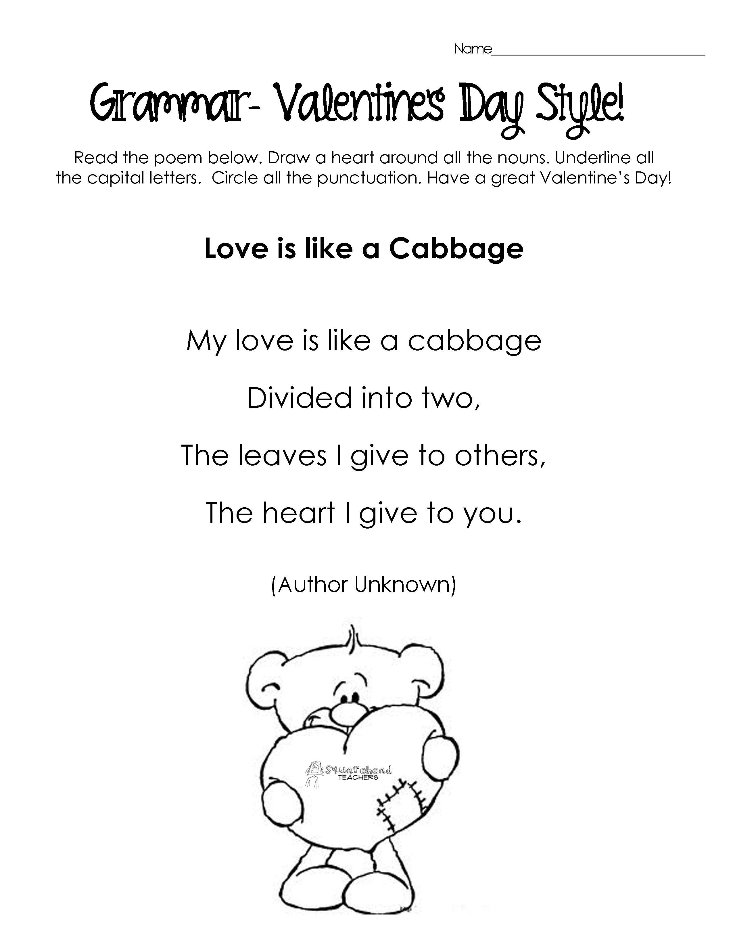 Uncategorized Free Valentine Worksheets poems valentines day kids silly for grammar practice free worksheets