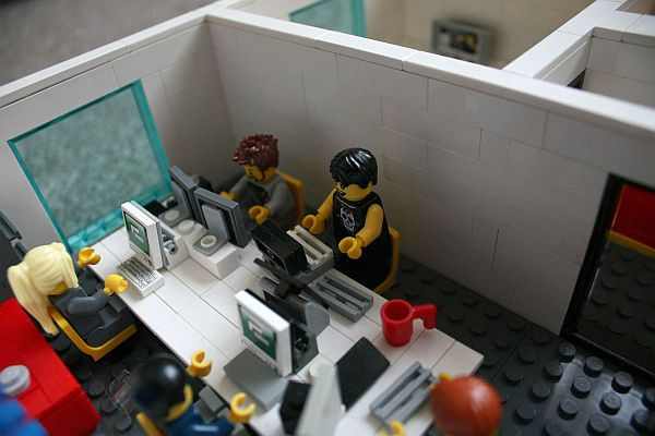 Office lego Palpatines Miniature Lego Office Yard Digital Back Office Desks Pinterest Office Space Made From Lego Bricks At Yard Digital In Edinburgh