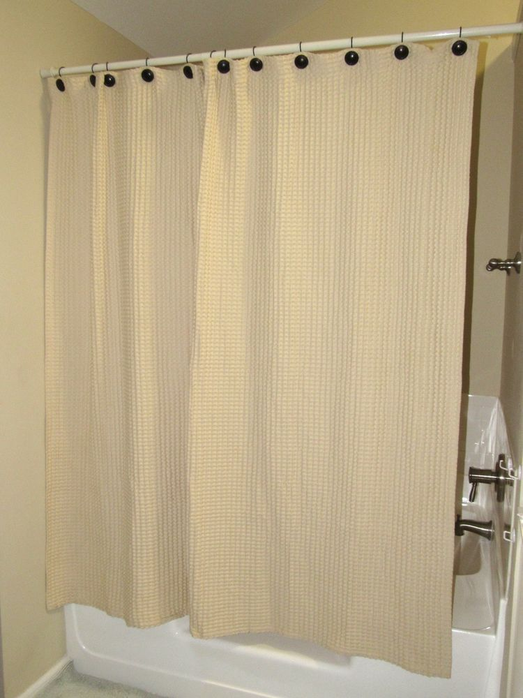 Home Collection Beige Waffle Textured Shower Curtain