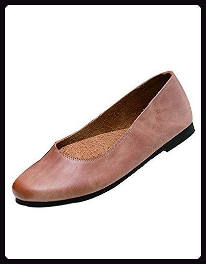 Youlee Damen Weiche Unterseite Slip on Schuhe Leder Flache