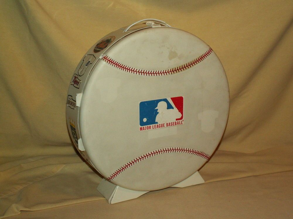 Baseball Travel Case Round Plastic Skil Craft Vintage Decals Upper