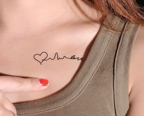 Gorgeous Love Heartbeat Tattoo Quotes On Collar Bone Love Quotes
