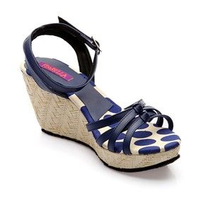 2c2f6f12ed5 FIORELLA Women Blue Wedges This solid blue  strappy wedge features polka  dotted base