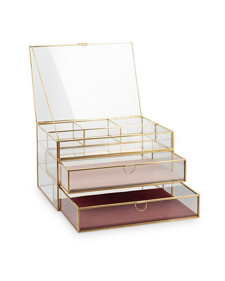 Gold Glass Pink Velvet Three Tier Jewellery Box In 2019 Jewelry