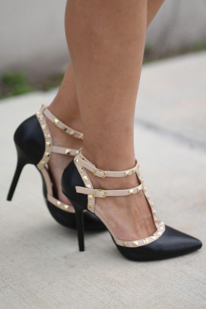 Black Studded Strappy Heels | Strappy
