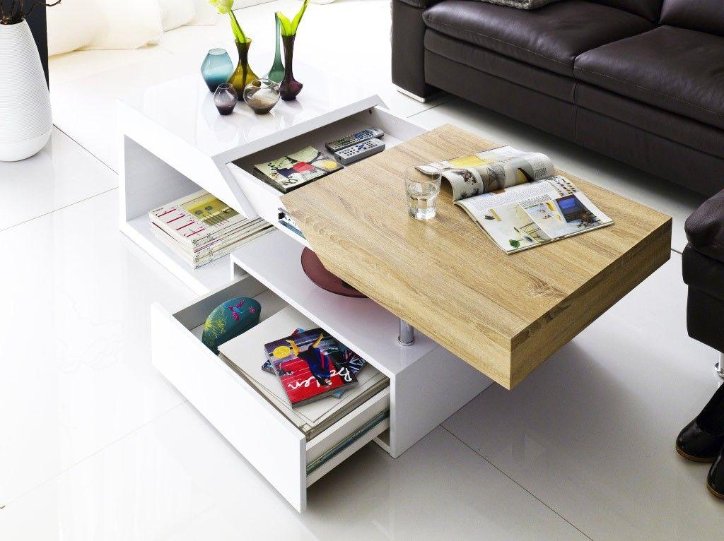 Table Basse Design Blanc Laque Et Bois Chene Spring Table Basse Design Table A Manger Avec Rangement Table Basse Blanc