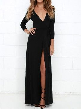 3bba8c8efcb3 Shop Black Wrap Front Plunge Long Sleeve Split Maxi Dress from choies.com  .Free shipping Worldwide.$18.99?utm_source=web