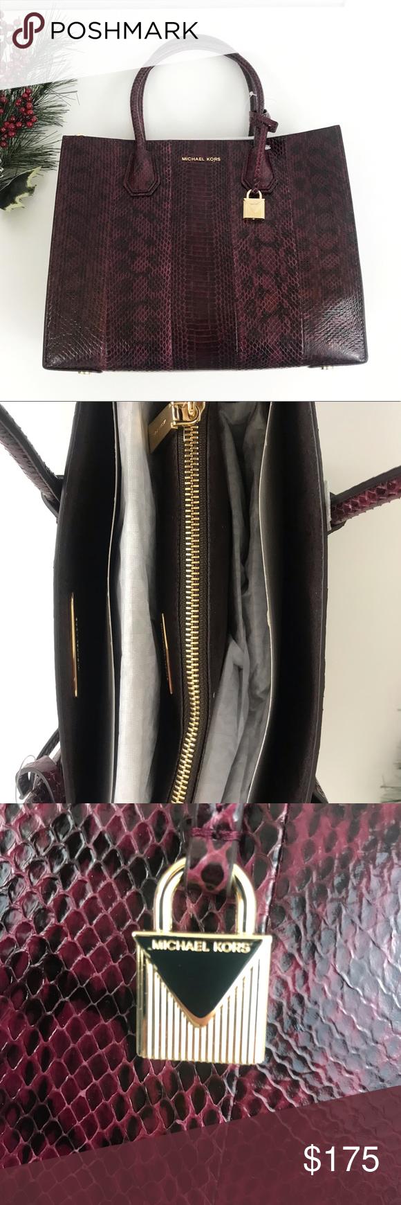 a9727a7fe5ab Michael Kors Mercer Snakeskin Tote✨✨Brand New! Michael Kors Mercer Snakeskin  Tote✨✨Brand New! • 100% Water Snake • Gold-Tone Hardware • 12.5