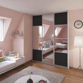 Porte De Placard Coulissante Gris Graphite Miroir SPACEO L X H - Porte placard coulissante et prix porte standard