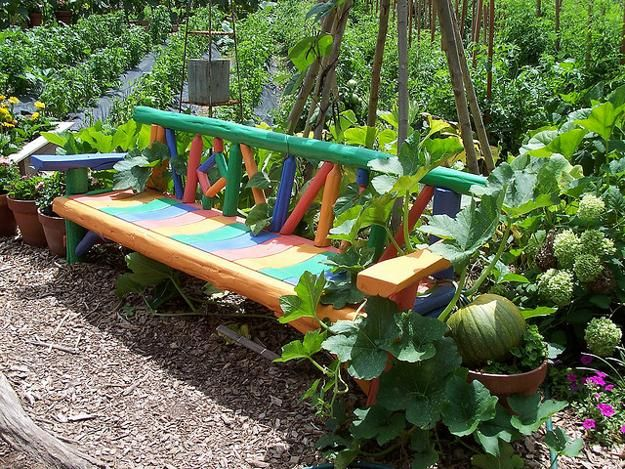 unique garden benches unique wooden bench decorating ideas to personalize yard landscaping - Unique Garden Ideas Decorating
