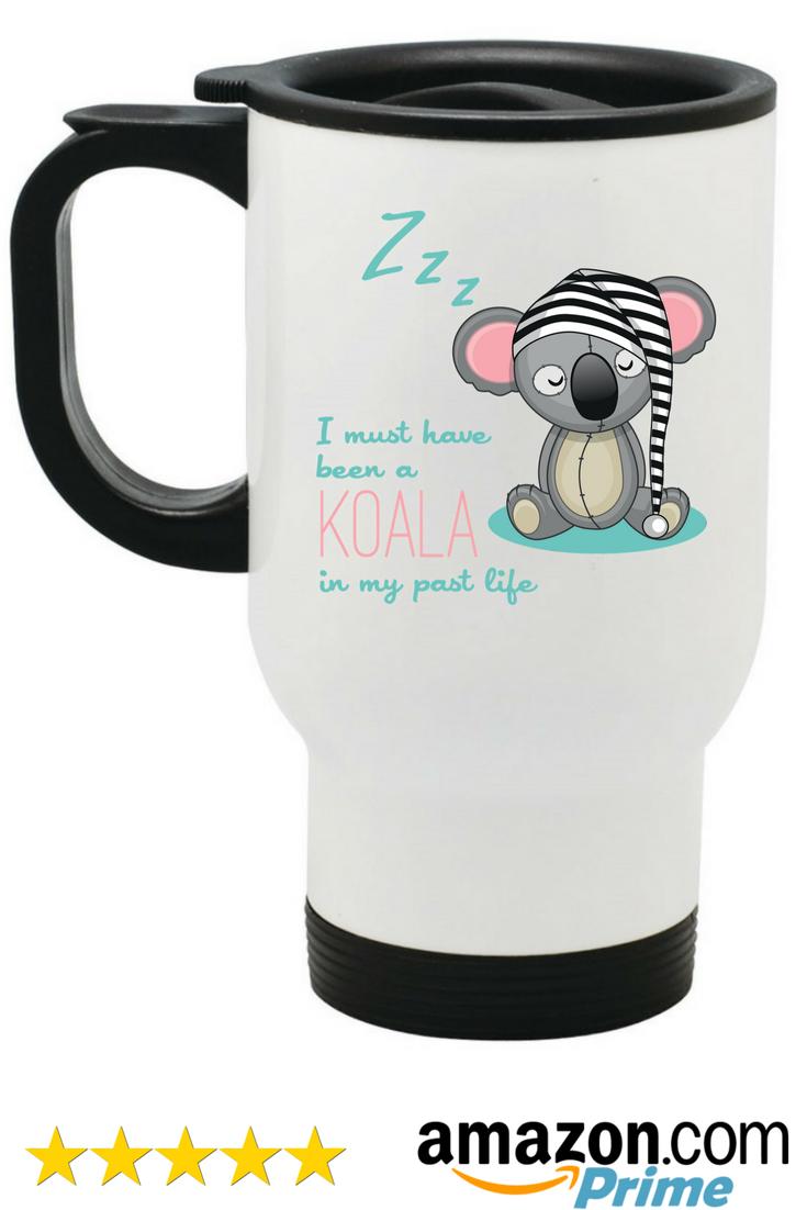 Koala Bear Travel Mug White Metal Coffee Mugs Gift Cup Gifts 14 Oz