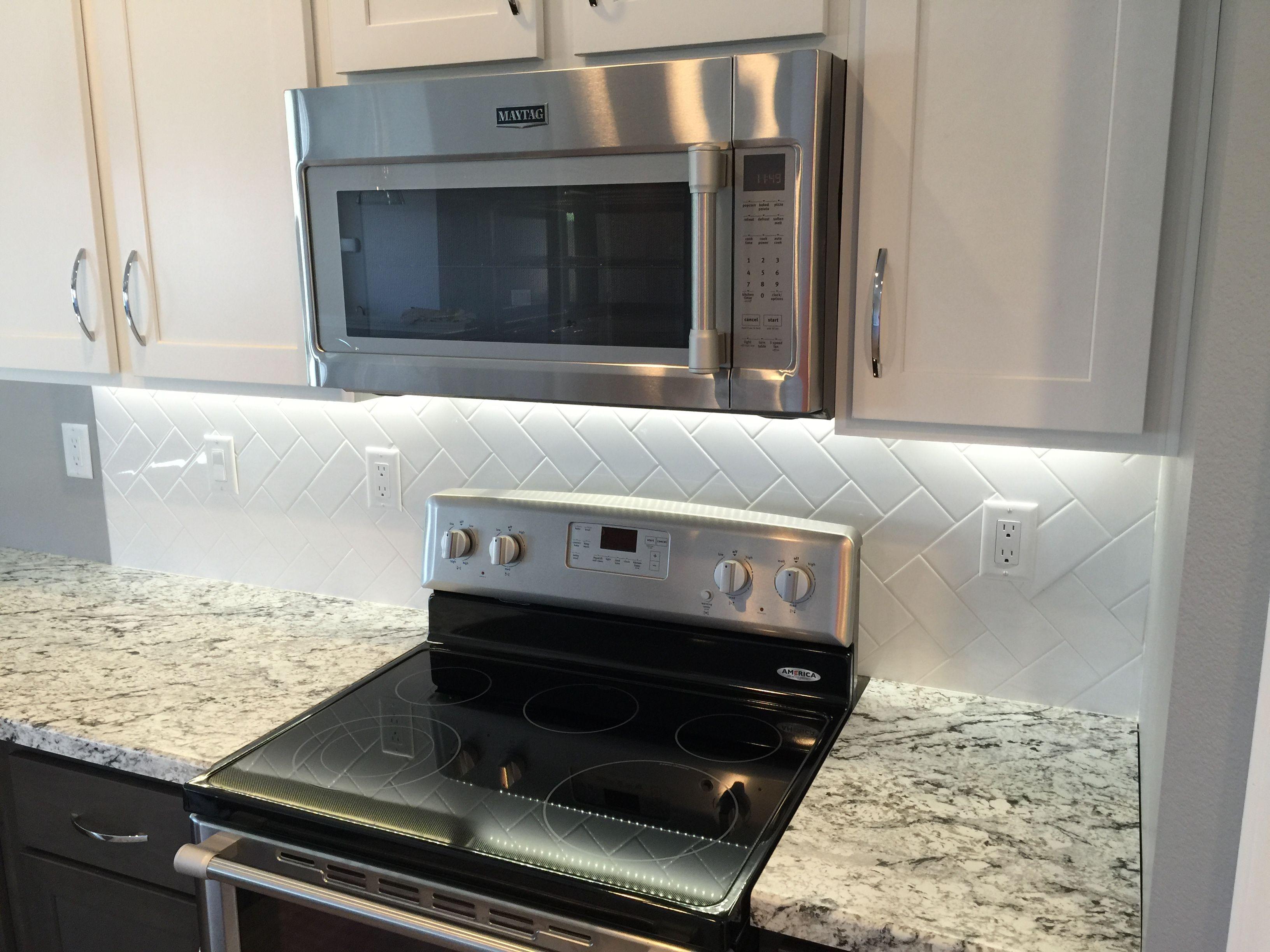 Kitchen Backsplash In A 3x6 White Subway Tile In A Vertical Herringbone Install 3x6 White Subway Tile White Subway Tile Kitchen Backsplash