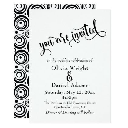 template - #Fancy Script Nested Retro Circles Pattern Wedding Card - wedding card template