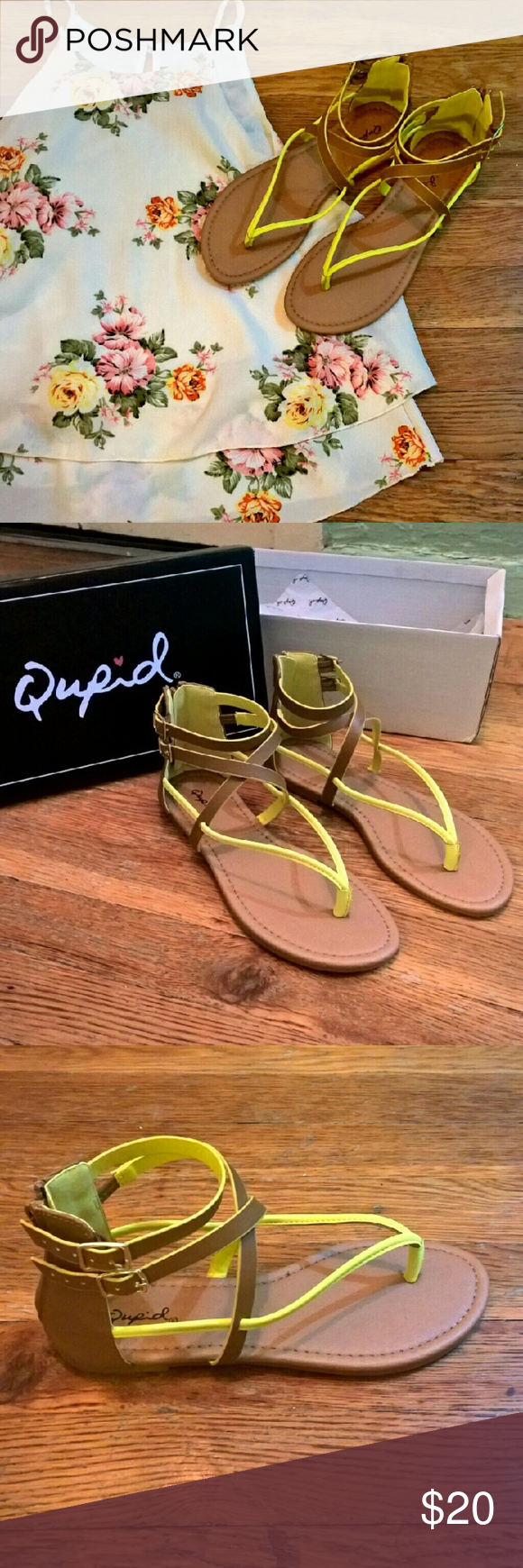 Strappy Sandals Sandals by Qupid, Brand new. Zip up from back. Never been worn. True to size  Size:5 Qupid Shoes Sandals