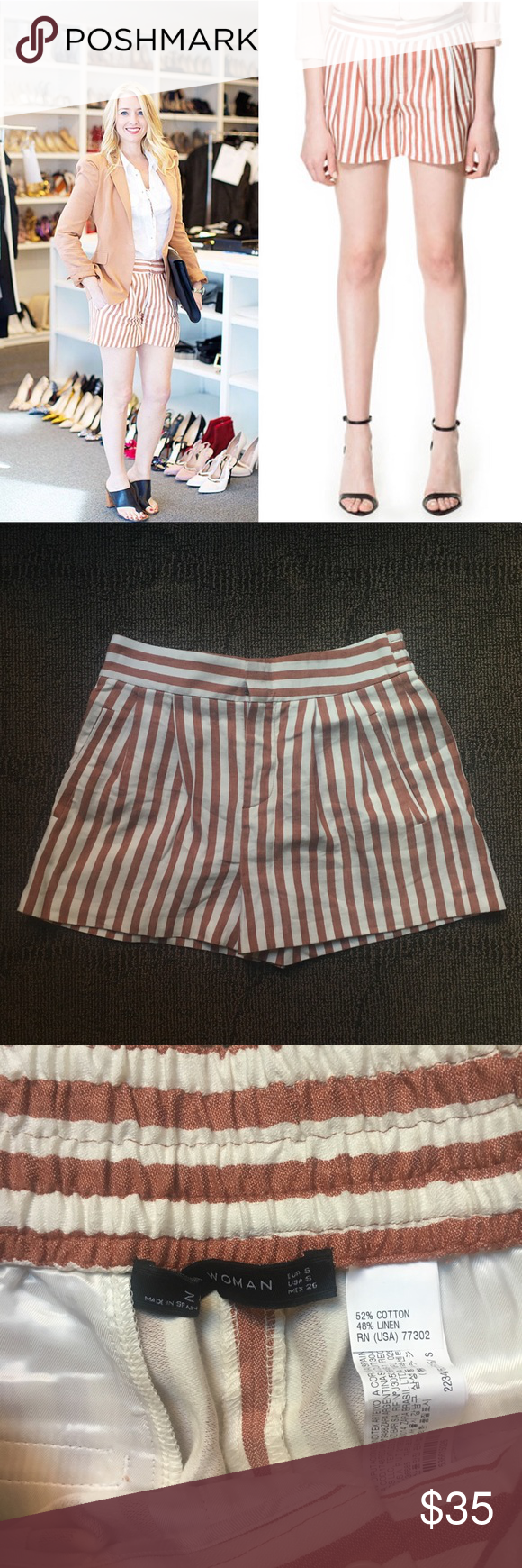 84af832b12 ZARA - High waisted Striped shorts Orange, S Zara's eponymous High waisted  short in a deep rusty orange color set over a Cream denim weave fabric The  ...
