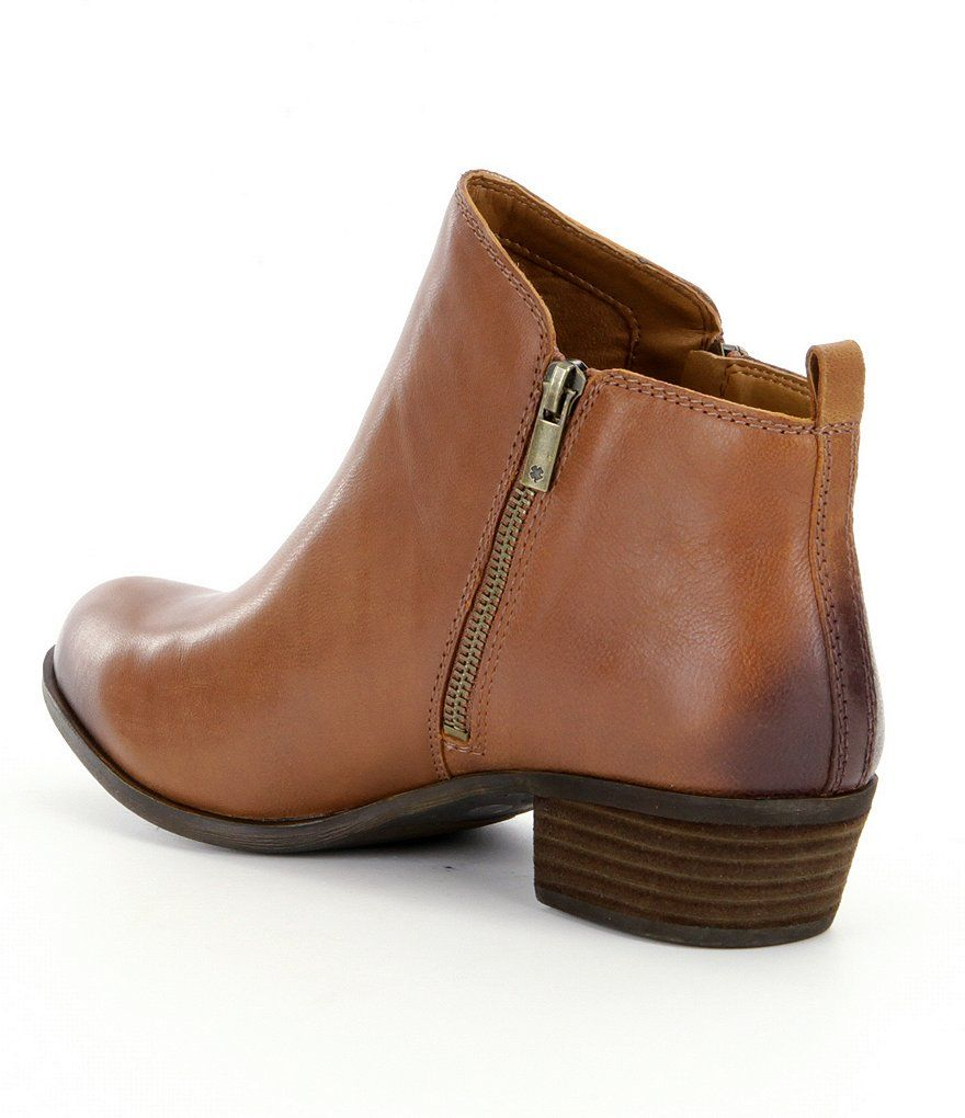 c2f8a85a88eb4 Lucky Brand Basel Smooth Leather Zip Block Heel Booties#Basel, #Smooth, #