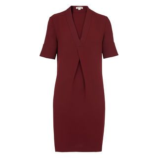 Polly V Neck Dress, in Burgundy on Whistles