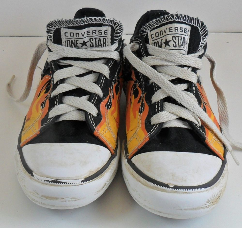Converse One Star Juniors 2 Flames Fire Sneakers Youth Child Black #ConverseOneStar #Sneakers
