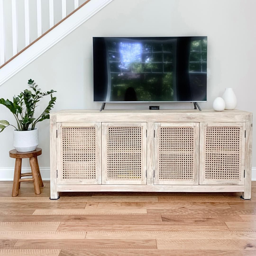 Cane Tv Stand Cane Buffet Cane Cabinet Cane Console Table Cane Sideboard Rattan Tv Stand Boho Tv Stands Living Rooms Living Room Tv Stand Cottage Tv Stand