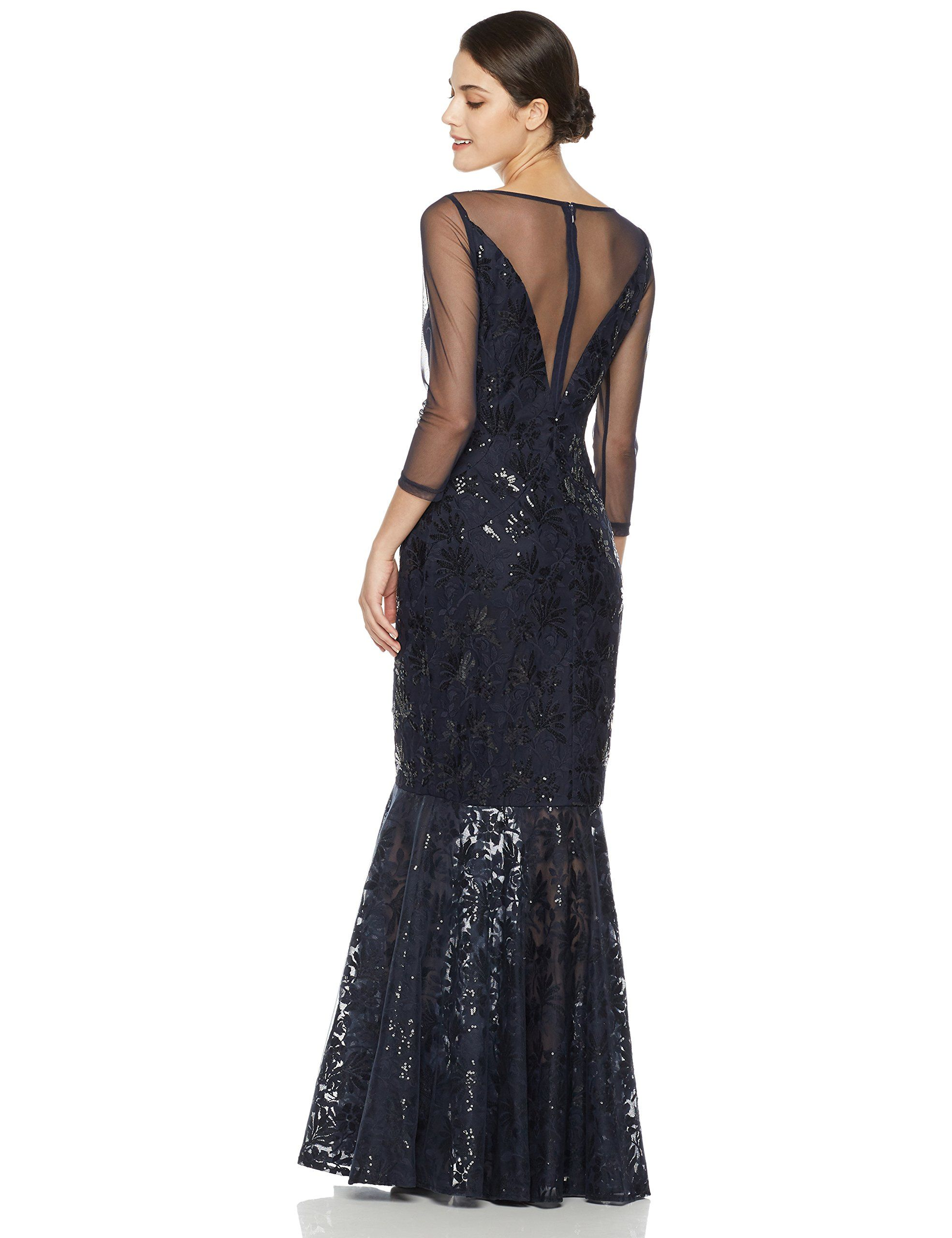 1a3eb2cd78d4 Social Graces Womens Deep VNeck Illusion Mesh Sequin 3 4Sleeve Evening Dress  10 Navy Blue    Check this awesome product by going to the link at the  image.