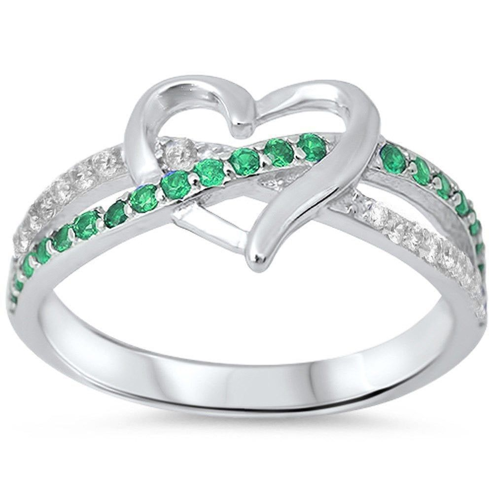 10 925 Sterling Silver ~ Heart Infinity Ring ~ Size 5-5.5-6 8-9 6.5-7
