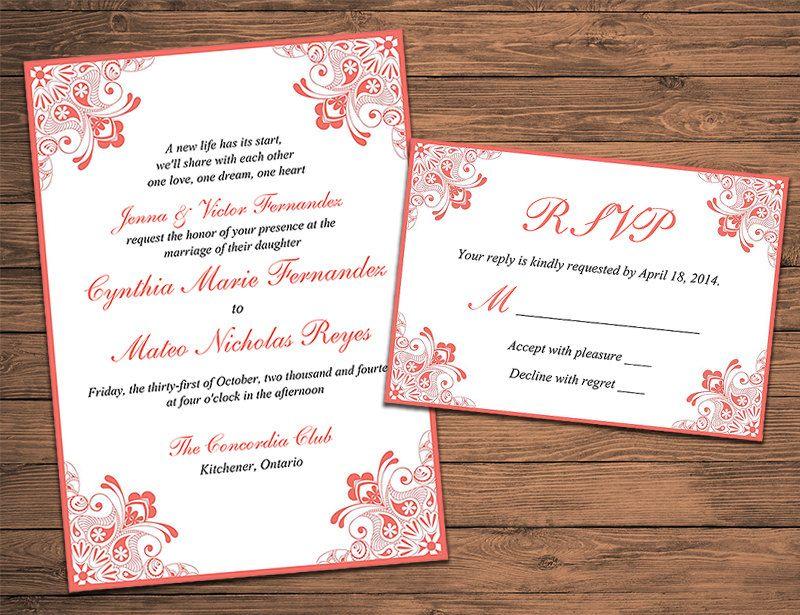 Henna Wedding Invitation RSVP Card With Envelope