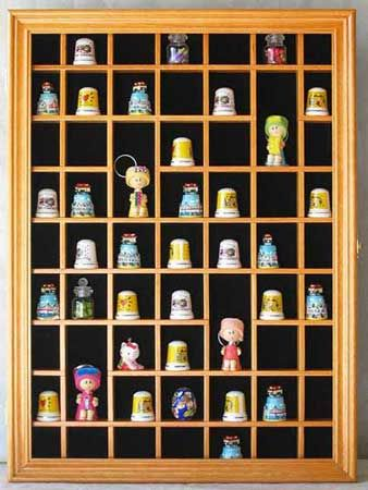 Minifigures Display Case Wall Thimble Cabinet Shadow Box-Black