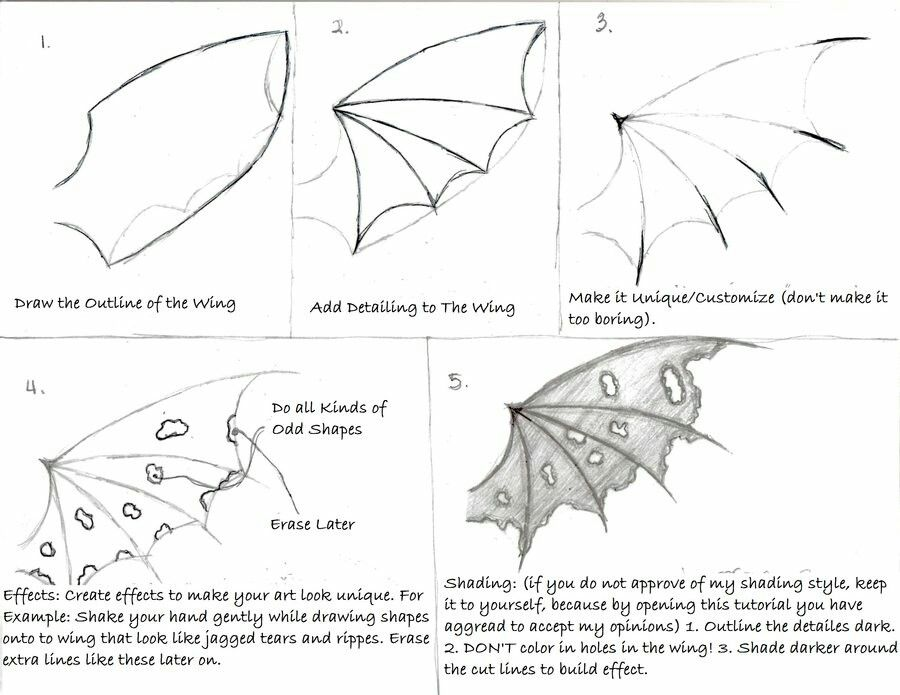 How to Draw Dragon/Demon Wings, text; How to Draw Manga ...